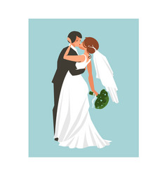 hand drawn abstract wedding hugging and vector image vector image