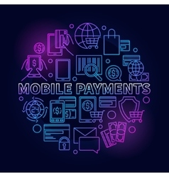 Mobile payments circular blue sign vector image