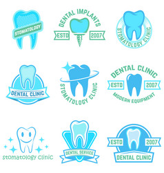 set of stomatology labels color isolated on white vector image vector image