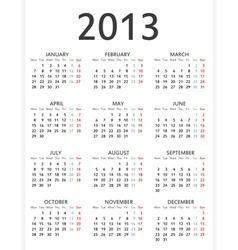 Simple 2013 calendar vector image vector image