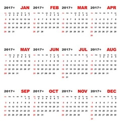 2017 calendar template for business plan vector image vector image