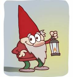 cute little gnome with lantern vector image vector image
