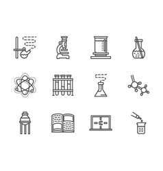 Flat line chemistry research icons vector image vector image