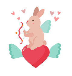 holiday funny cupid rabbit with bow amd hearts vector image