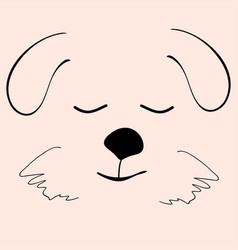 Puppy sleep cute funny cartoon dog head vector