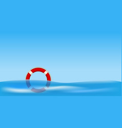 Red life buoy floating on water vector