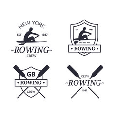 rowing team logo emblem of rowing crew vector image