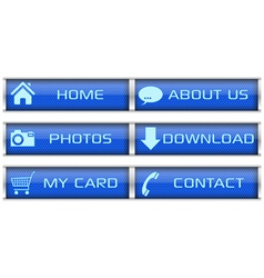 Blue web icon set vector image vector image
