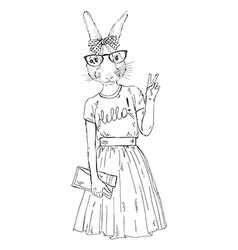 Fashion animal cute hipster bunny girl character vector