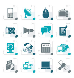 stylized communication and technology icons vector image vector image