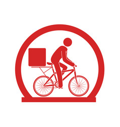 circular emblem with delivery man in bike vector image