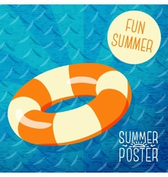 Cute summer poster - orange lifebuoy in water vector image