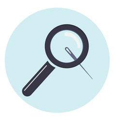 magnifier with needle icon vector image