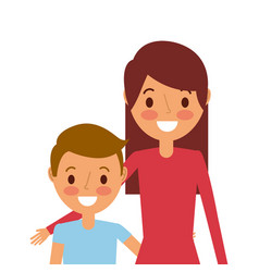 portrait mom embracing her son vector image