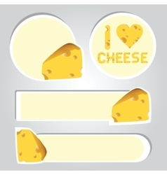 stickers of cheese vector image vector image