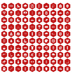 100 winter sport icons hexagon red vector
