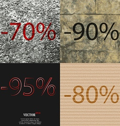 90 95 80 icon Set of percent discount on abstract vector