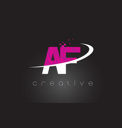 Af a f creative letters design with white pink vector