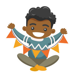 african boy holding a triangle holiday garland vector image