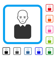 Bald bureaucrat framed sad icon vector