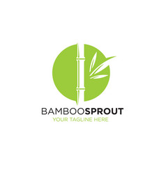 bamboo sprout eco green minimalistic sign concept vector image