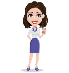 Beautiful business woman holding coffee while vector