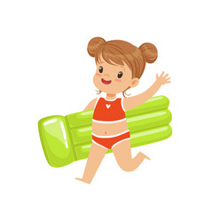 Beautiful little girl in a red swimsuit running vector