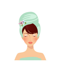 beauty spa face pretty woman in towel with closed vector image
