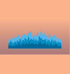 Blue silhouettes of buildings vector