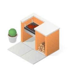 Brick BBQ grill vector