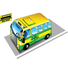 Bus in the bus stop vector