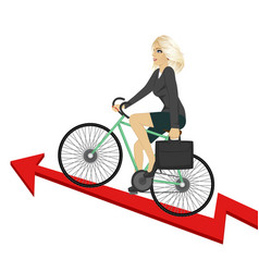 business woman riding bicycle up success arrow vector image