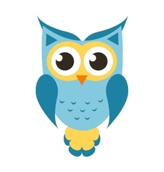 Cartoon blue owl icon vector