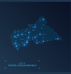 Central african republic map with cities luminous vector