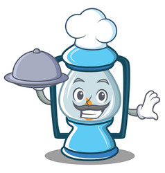 Chef with food lantern character cartoon style vector