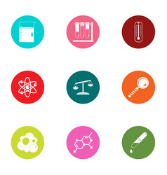 Chemical compound icons set flat style vector
