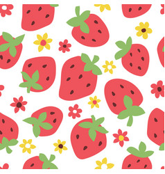 childish seamless pattern with cute strawberry vector image