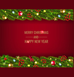 christmas fir tree garland with toys and ball vector image