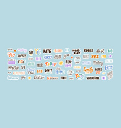 collection sticker words template flat vector image