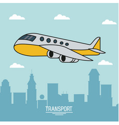 Colorful poster of air transport with airplane in vector