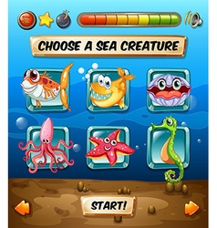 Computer game template with underwater scene vector