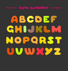 cute colorful hand drawn uppercase alphabet vector image