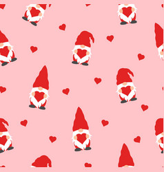 cute valentines gnomes in red hats and hearts vector image