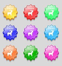Decorative Zodiac Aries icon sign symbol on nine vector