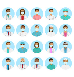 Doctors and nurses characters avatars set medical vector