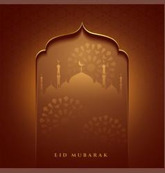 Eid mubarak islamic mosque gate wishes card design vector