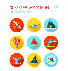 Excursion sea flat icon set summer vacation vector