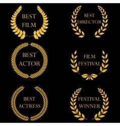 Film awards Golden round laurel wreaths vector image