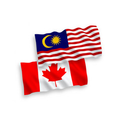 flags canada and malaysia on a white background vector image