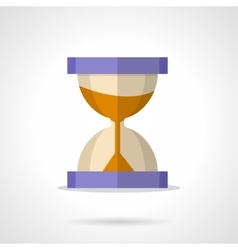 Flat color hourglass with sand icon vector image